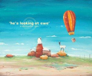 He's looking at ewe